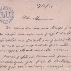 Documentos antiguos: CARTA CIRCULO DE LABRADORES Y PROPIETARIOS SEVILLA - 1918 - 12*9 CM. Lote 94927075