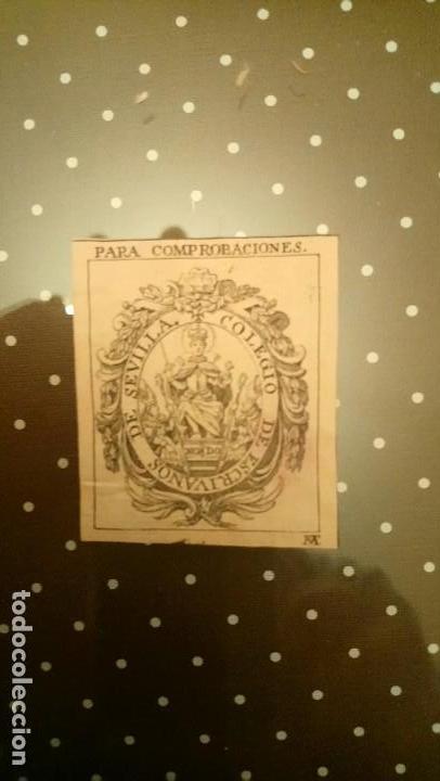 SELLO DEL COLEGIO DE ESCRIBANOS DE SEVILLA (SIGLO XVIII). MIDE 5,6 X 4,5 CM. (Coleccionismo - Documentos - Otros documentos)