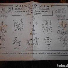 Documentos antiguos: MARCELO VILÁ. MONTURAS PARA ESCAPARATES. SECCION DE CALZADO. BARCELONA. FOLLETO CON DIBUJOS DE DIFER. Lote 95078107