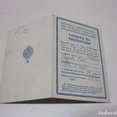 Documentos antiguos: RÉGIMEN OBLIGATORIO DE RETIROS OBREROS. TARJETA DE INSCRIPCIÓN EMITIDA POR LA CAJA PENSIONES VEJEZ Y. Lote 95147019
