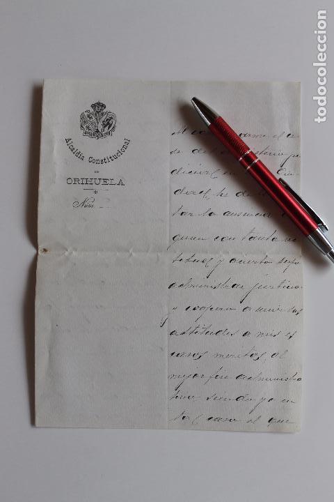 ALCALDIA CONSTITUCIONAL DE ORIHUELA, 1909, FIRMA ALCALDE A MAGISTRADO AUDIENCIA DE JAEN, (Coleccionismo - Documentos - Otros documentos)