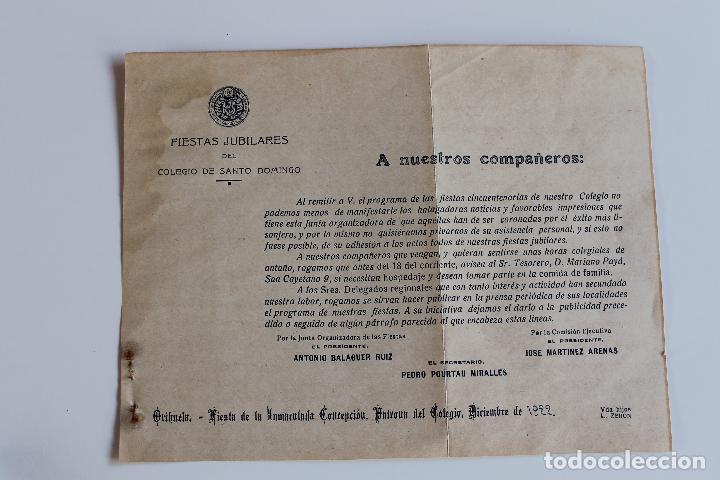 COLEGIO DE SANTO DOMINGO ORIHUELA, FIESTAS JUBILARES DE LA INMACULADA, 1922 (Coleccionismo - Documentos - Otros documentos)