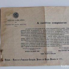 Documentos antiguos: COLEGIO DE SANTO DOMINGO ORIHUELA, FIESTAS JUBILARES DE LA INMACULADA, 1922. Lote 95513879