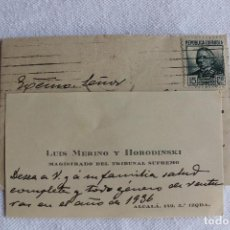 Documentos antiguos: CARTA Y TARJETA, FELICITACION, SELLO REPUBLICA 15 CTS. MAGISTRADO DEL TRIBUNAL SUPREMO 1936. Lote 95930335