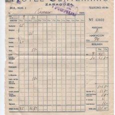 Documentos antiguos: FACTURA HOTEL CENTENARIO ZARAGOZA 1949. Lote 96038299