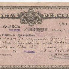 Documentos antiguos: CEDULA PERSONAL VALENCIA 1928. Lote 96038527