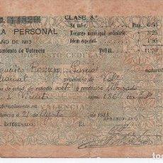 Documentos antiguos: CEDULA PERSONAL VALENCIA 1913. Lote 96038663