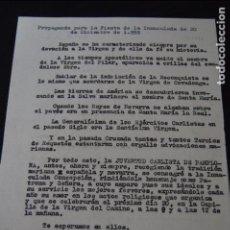 Documentos antiguos: DOCUMENTO DE PROPAGANDA CARLISTA. MONTEJURRA. (CARLISTAS, CARLISMO, REQUETÉ). Lote 96397211