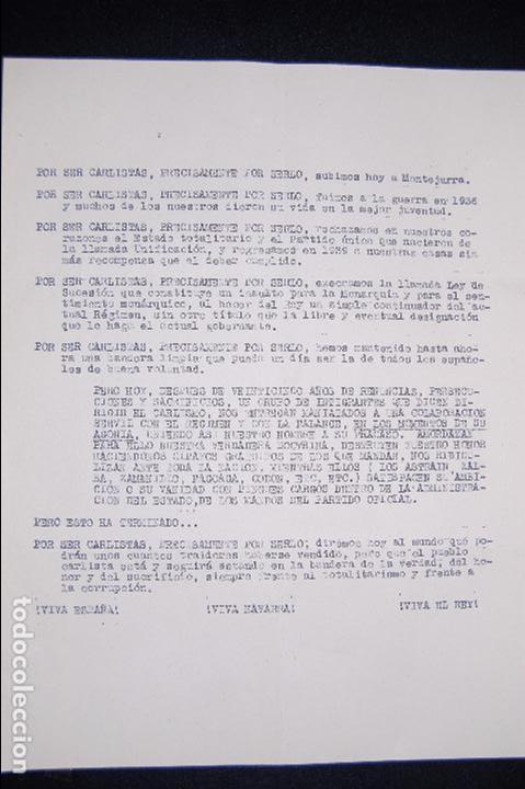 DOCUMENTO DE PROPAGANDA CARLISTA. (CARLISTAS, CARLISMO, REQUETÉ) (Coleccionismo - Documentos - Otros documentos)