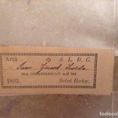 Documentos antiguos: CERTIFICADO COMUNION. ARTA, MALLORCA. AÑO 1893. Lote 96414135