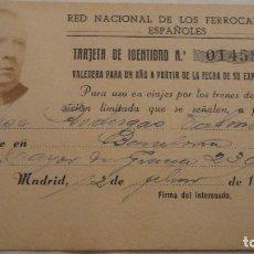 Documentos antiguos: TARJETA IDENTIDAD.RED NACIONAL FERROCARRILES ESPAÑOLES.JOSE RODERGAS.MADRID.1944. Lote 96801415