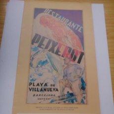Documentos antiguos: CARTA PARA UNA BODA DEL RESTAURANTE PEIXEROT. Lote 96826275
