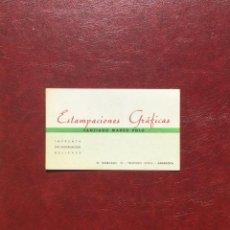 Documentos antiguos: TARJETA ESTAMPACIONES GRÁFICAS, SANTIAGO MARCO POLO. PUBLICIDAD. ZARAGOZA. Lote 96900963