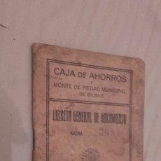 Documentos antiguos: LIBRETA GENERAL DE NACIMIENTO. CAJA DE AHORROS Y MONTE DE PIEDAD BILBAO (1925).. Lote 97075807