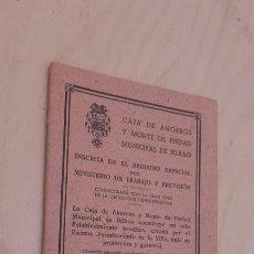 Documentos antiguos: LIBRETA GENERAL DE NACIMIENTO. CAJA DE AHORROS Y MONTE DE PIEDAD MUNICIPAL DE BILBAO (1942).. Lote 97399563