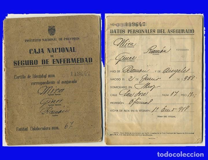 1948 CARTILLA CAJA NACIONAL DE SEGURO DE ENFERMEDAD INSTITUTO NACIONAL DE PREVISION (Coleccionismo - Documentos - Otros documentos)