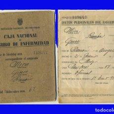 Documentos antiguos: 1948 CARTILLA CAJA NACIONAL DE SEGURO DE ENFERMEDAD INSTITUTO NACIONAL DE PREVISION . Lote 97437403