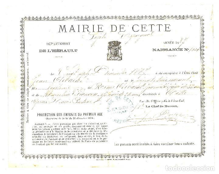 certificado de nacimiento de 1887 de niño españ - Comprar en ...