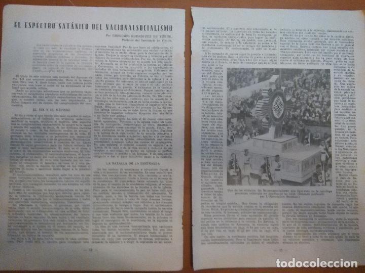 1938 ARTICULO PUBLICACION , EL ESPECTRO SATANICO DEL NACIONALISMO, IMAGEN PROCESION NAZI HAMBURGO (Coleccionismo - Documentos - Otros documentos)