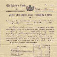 Documentos antiguos: LORCA. IMPUESTO DERECHOS REALES Y TRASNSMISION DE BIENES. DD- 9-7-1915. Lote 97758468