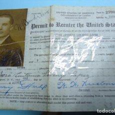 Documentos antiguos: 1926 RARO PERMISO DE RESIDENCIA EEUU DEPARTAMENT OF LABOR. Lote 97787431