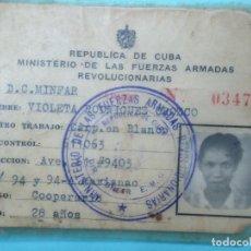 Documentos antiguos: REPUBLICA DE CUBA MINISTERIO DE LAS FUERZAS ARMADAS REVOLUCIONARIAS LA HABANA 1967 CARNET ORIGINAL. Lote 97788899