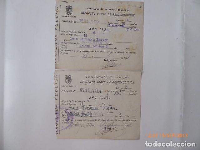 3 RECIBOS CONTRIBUCION RADIOAUDICION, 1950,51,52 (Coleccionismo - Documentos - Otros documentos)
