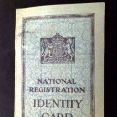 Documentos antiguos: CARNET DE IDENTIDAD-NATIONAL REGISTRATION,U.K.,AÑO 1952. Lote 98060371