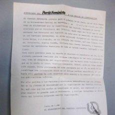 Documentos antiguos: COMUNICADO DEL PARTIDO FEMINISTA A LOS MEDIOS DE COMUNICACIÓN (JUNIO DE 1981). FEMINISMO PARTIT. Lote 98382827
