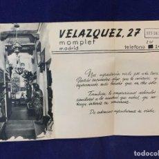 Documentos antiguos: FOLLETO COMERCIAL TARJETA TRIPTICO MOMPLET VELAZQUEZ MADRID ANTIGUEDADES COMPRA VENTA OCASIONES. Lote 98505923