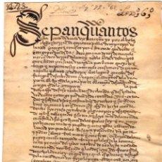 Documentos antiguos: ESCRITURA DE VENTA DE UNA TIERRA EN QUINTANAPALLA. BURGOS. PERGAMINO. AÑO 1504. Lote 98547983