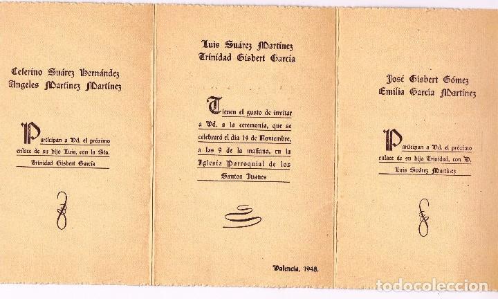 Triptico Invitacion Boda Valencia Año 1948