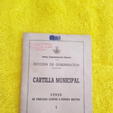 Documentos antiguos: CARTILLA MUNICIPAL CENSO DE VEHICULOS SUJETOS A REQUISA MILITAR AÑO 1959. Lote 98767075
