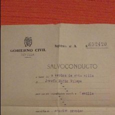 Documentos antiguos: ANTIGUO SALVOCONDUCTO.GOBIERNO CIVIL.SEVILLA.JOSEFA MUÑIZ VILEYA.CASTILBLANCO DE LOS ARROYOS.1944. Lote 98813523