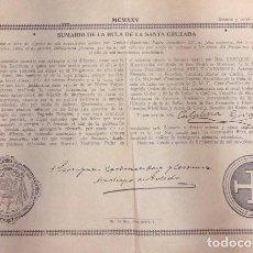 Documentos antiguos: SUMARIO DE LA BULA DE LA SANTA CRUZADA. BENEDICTO XV 1925. Lote 98866823