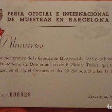 Documentos antiguos: INVITACION.ALMUERZO.HOMEJAJE FRANCISCO DE P. RIUS TAULET.FERIA INTERNACIONAL MUESTRAS.BARCELONA.1960. Lote 98978051
