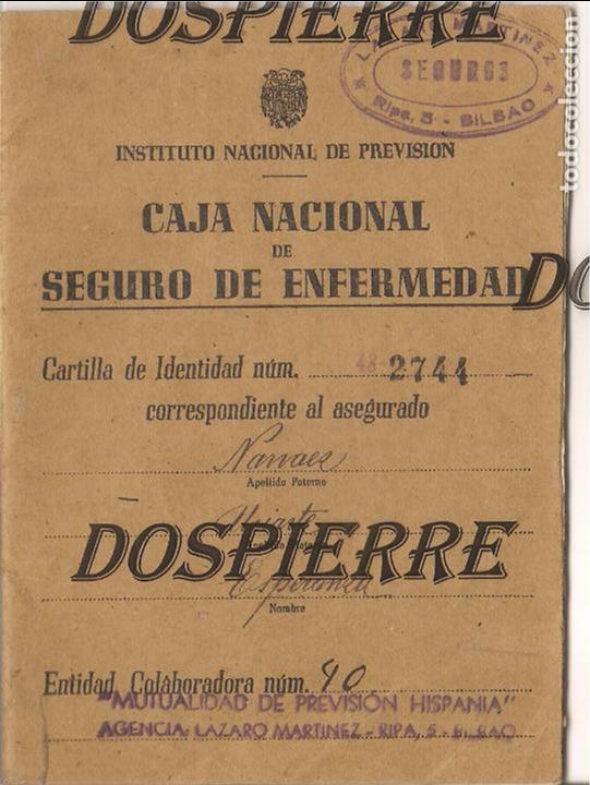 CARTILLA CAJA NACIONAL SEGURO ENFERMEDAD, BILBAO, 1944 (Coleccionismo - Documentos - Otros documentos)