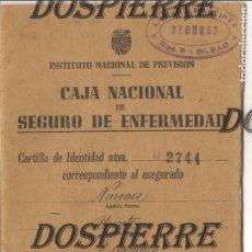 Documentos antiguos: CARTILLA CAJA NACIONAL SEGURO ENFERMEDAD, BILBAO, 1944. Lote 98982867