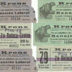Documentos antiguos: (PA-170991)LOTE DE 6 ENTRADAS DEL CIRCO KRONE AÑOS 20. Lote 98994027