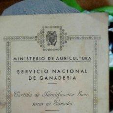 Documentos antiguos: CARTILLA DE IDENTIFICACIÓN SANITARIA DE GANADOS. Lote 99071371