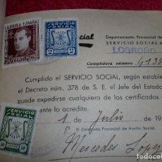 Documentos antiguos: FALANGE ESPAÑOLA: HISTORIAL DE LOS TRABAJOS - AÑOS '40. Lote 99257699