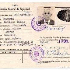 Documentos antiguos: CARNET, AUTORIZACIÓN DE RESIDENCIA DE EXTRANJEROS EN ESPAÑA, 1964 - OVIEDO. CUBA. COMERCIO. Lote 99315683