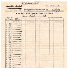 Documentos antiguos: AJUSTE DEL SERVICIO SOCIAL 1938 - GUERRA CIVIL - VIÑETA AUXILIO SOCIAL 2 PESETAS - PROVINCIA BADAJOZ. Lote 99642295