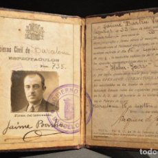 Documentos antiguos: DOCUMENTACION ANTIGUO CARNET DE OPERADOR DE CINEMATOGRAFO BARCELONA 1932 REPUBLICA. Lote 99974539