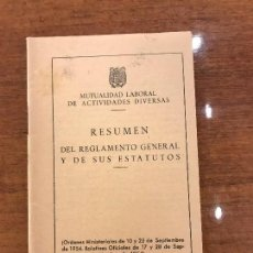 Documentos antiguos: REGLAMENTO MUTUALIDAD LABORAL. Lote 100360199