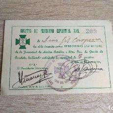 Documentos antiguos: TARJETA BOLETIN DE PEREGRINO ESPIRITUAL - SRA DE GRACIA DE CAUDETE - 1946. Lote 100399011