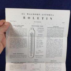 Documentos antiguos: HOTEL NUEVA YORK NY EL WALDORF ASTORIA BOLETIN INVIERNO 1949 PUBLICITARIO EN CASTELLANO 22X10CMS. Lote 100400083