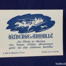 Documentos antiguos: TARJETA COMERCIAL ETOILE FRANCIA AUBERGE D`ARMAILLE BOTELLAS CENAS DINERS MUSIQUE MUSICA AÑOS 30 40 . Lote 100435819