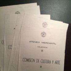 Documentos antiguos: ATENEO MERCANTIL. VALENCIA. COMISIÓN CULTURA. ACTOS ENERO-JUNIO 1961. Lote 100457544