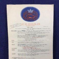 Documentos antiguos: MENU RESTAURANT RESTAURANTE LE MARIGNAN CHAMPS ELYSEES PARIS AÑOS 50 60 37X24CMS. Lote 100459127